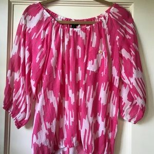 J. Crew ikat peasant top in pink and white